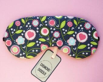 Eye Sleep Mask, Retro Pink Flowers Hearts Soft Cotton, Blackout Travel UK Gift