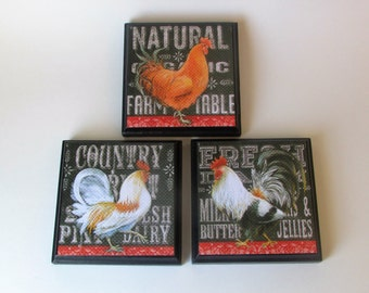 Kitchen Rooster Room Wall Plaques   Set Of 3 Rooster Kitchen Room Decor    Country Rooster