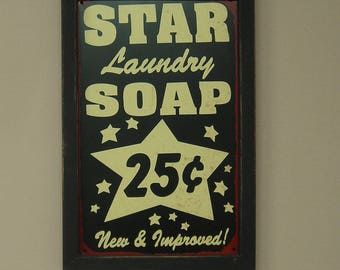 Reproduction Tin Sign, Star Laundry Soap New and Improved, Wood Framed, Nostalgic,14 by 9 inches., Free Shipping