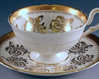 Foley China Tea Cup and Saucer Gold Feathers Scrolls on White Scalloped Fine English Bone China Footed Cup