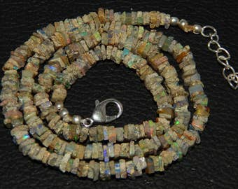 """Wonderful 25% Discount  45.40 ct approx Natural Ethiopian Opal 4 mm Heishi Beads 17"""" strands Necklace"""