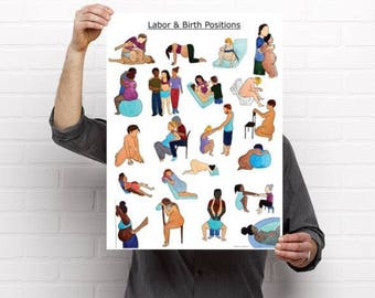 "Labor and Birth Positions Poster-18"" x 24"" pregnancy/ birth art/ educational poster/ midwife/ doula/ childbirth/ labor"