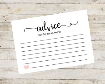 Advice Card, Baby Shower Games, Baby Advice for Mom or Parents to be, Words of Wisdom, Printable File, Instant Download, Digital PDF ABBS