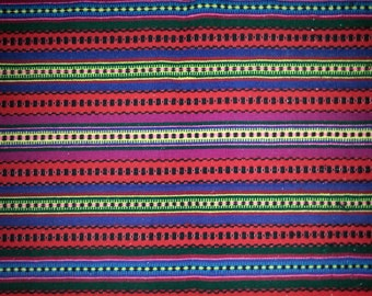 Old hand-woven  multi color wall hanging tapestry in wool from Sweden / Scandinavia 1940s.