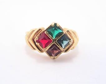 Vintage Multi Color Princess Cut Rhinestone Fashion Ring