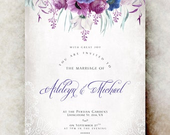 Purple violet Wedding Invitation printable - lace wedding invitation, anemones wedding invitation, romantic wedding invitation