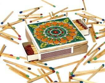 Ceramic Match Striker, Ceramic Match Holder, Vintage Mandala Matchbox, Mandala Match Holder, Vintage Matches, Wooden Matchbox, Match Safe