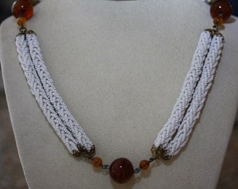 """Braided Milk Glass and Root Beer Glass  """"Spectator"""" Necklace"""