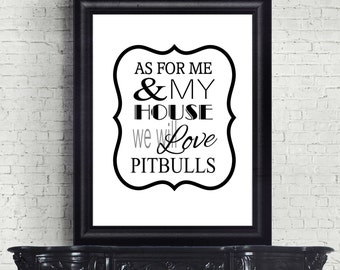 Pit Bull Art Print, Pitbull Decor, Gift for Dog Lover, Pets, Dog Art, Staffordshire Terrier Wall Hanging, Digital Art Print