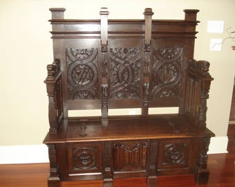 Antique French Gothic Hall Bench