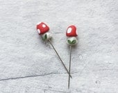 Toadstool pin topper, decorative pin, woodland pin, sewing pin topper, decorative toadstool, fairy toadstool, miniature toadstool