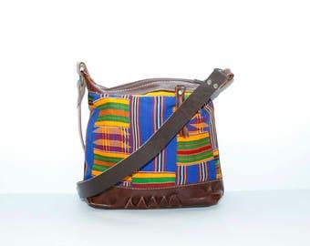 Leather cross body bag - Leather shoulder bag - Leather boho bag - Ethnic leather bag - Kente cloth bag