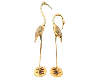 "Huge 32"" Solid Brass Crane Sculptures - Hollywood Regency Brass Sculptures - Brass Cranes - Gold Cranes - Huge Brass Crane - Large Brass"