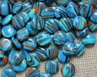 Striped Turquoise Brown Black Stone Coin Bead (24 Pieces)