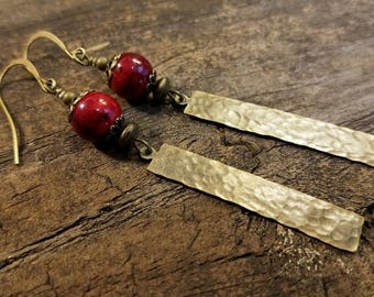 Metal Earrings, Bronze Earrings, Red Earrings, Boho Earrings, Drop Earrings, Dangle Earrings