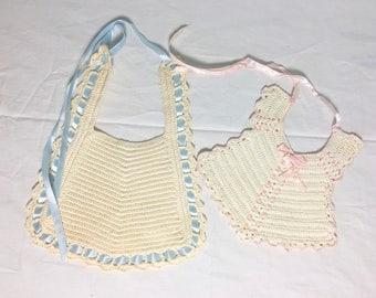 Vintage Crocheted Baby bibs, Antique dolls bibs, pink and blue bibs, handmade