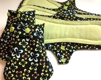 12 Inch Overnight, Leak Resistant Reusable Postpartum Menstrual Pad -Long Incontinence Pad, Washable Cloth Pad on Multi on Black Print