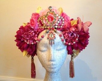 SALE! Pink Butterfly Fairy Queen crown tasseled headdress