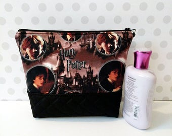 Harry Potter Characters Large Makeup Pouch / Hogwarts and Characters / Digitally Printed Fabric by Camelot Fabrics