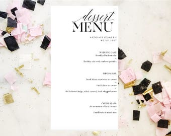 Wedding Dessert Menu Template, Dessert Bar, Instant Download, Printable  Wedding Template, Reception  Dessert Menu Template