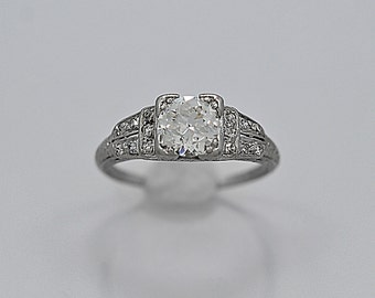 Platinum Antique Engagement Ring 1.25ct. Art Deco Platinum - J36339