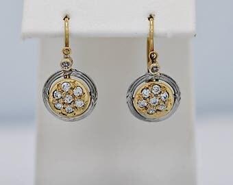 Early Edwardian Earrings .50ct. T.W. Platinum & 18k Yellow Gold - J36308