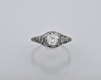 Art Deco .65ct. Diamond  Antique Engagement Ring Platinum - J36400