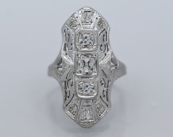 Art Deco 3-Stone Diamond Antique Engagement - Fashion Ring .53ct. T.W. White Gold - J36416