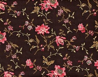 Civil War Era Floral Quilt Fabric - Pink Flowers on Brown - 1855-1870 Kirk Collection - Benartex - OOP - 5/6 Yard+
