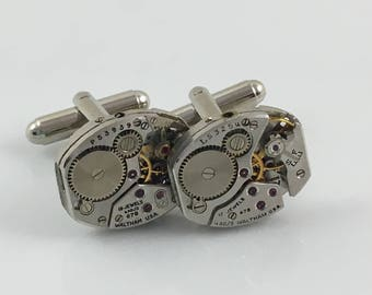 Vintage Watch Movement Cuff Links.  Your choice silver tone or gilded gold tone.