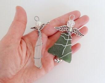 Guardian angel Christmas handmade ornaments, upcycled white and green sea glass suncatcher, coastal beach festive home decor, single or set