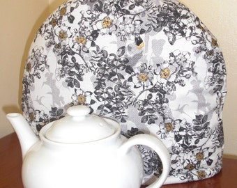 Tea Cozy Bright Black and White Toile with Metallic Gold with Insul-Bright and Warm Fleece