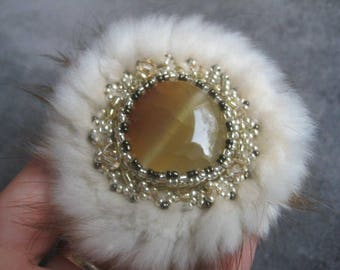 Hand made Brooch with fur and beads