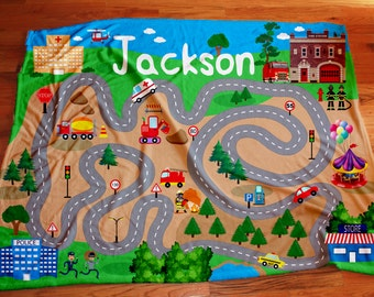 Personalized Kids Play Blanket, City play mat, fire and police floor blanket,  custom