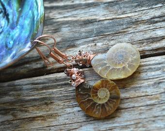 Ammonite Fossil and Miyuki Tornado Beads ,Geek Handmade Earrings,Fossil Earrings,Fossil Jewellery,Amonite Jewellery
