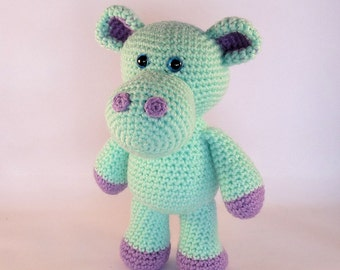 Crochet Toy Hippo, Amigurumi Hippo, Quirky Colourful Hippo, Cute Toy, Stuffed Hippopotamus, Plush Hippo, Crochet Animal Toy, Australian Made