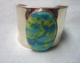 Sterling Silver Cuff Bracelet Faux Stone