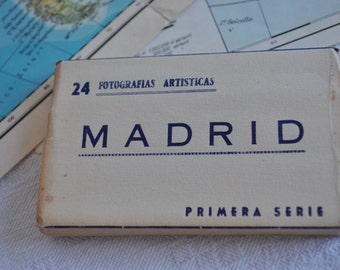 Block of vintage postcards of Madrid-Spain