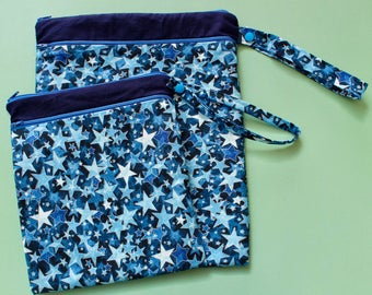 Glittery stars wet and dry bag for your CSP - double zip