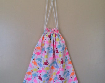 Drawstring/library/ daycare bag, brightly coloured flamingos