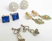 Lot of Vintage Rhinestone Screw Back Earrings (Four Pairs). Clear, Blue, and Turquoise Gem Stones.