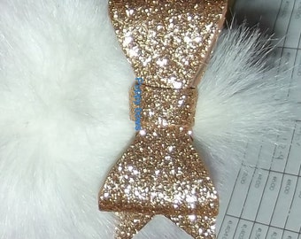 "Puppy Bows ~BIG glitter bow for medium/large dogs 3.5"" GOLD  ~Usa seller"