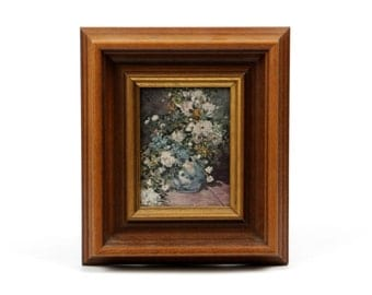 Antique oil painting flower still life framed flower bouquet colorful wood gold