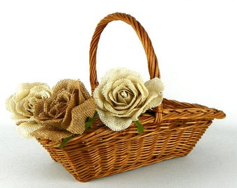 Vintage Natural Wicker Rectangular Basket Braided Weave Top