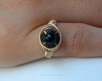 Repurposed Black and Gold Vintage Glass Button 14K Gold Fill Pinky Ring US Size 4.75 DR44