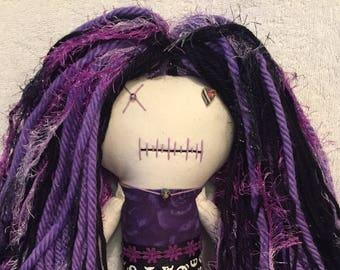 """Creepy n Cute Zombie Doll - """"Purple Floral Skulls"""" (P)"""