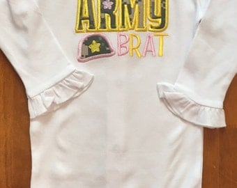 Pink and Yellow With Army ACU Fabric Army Brat Embroidered Shirt or Baby Bodysuit