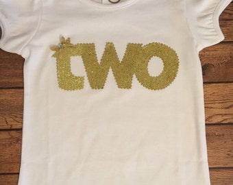 Gold Glitter Birthday Shirt or Baby Bodysuit
