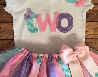 Pink, Purple, and Aqua Birthday Tutu Outfit