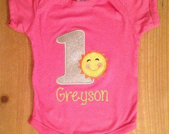You Are My Sunshine Summer Sun Birthday Embroidered Shirt or Baby Bodysuit